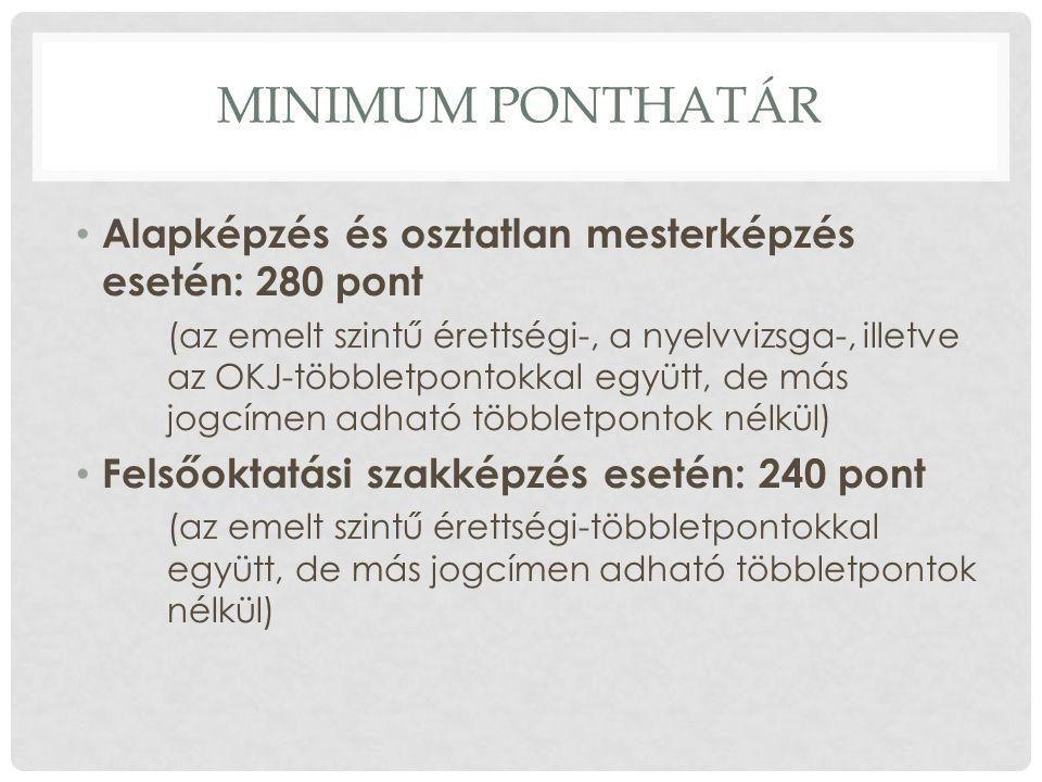 MINIMUM PONTHATÁR Alapképzés és osztatlan mesterképzés esetén: 280 pont (az emelt szintű érettségi-, a nyelvvizsga-, illetve az OKJ-többletpontokkal együtt, de más jogcímen adható többletpontok nélkül) Felsőoktatási szakképzés esetén: 240 pont (az emelt szintű érettségi-többletpontokkal együtt, de más jogcímen adható többletpontok nélkül)