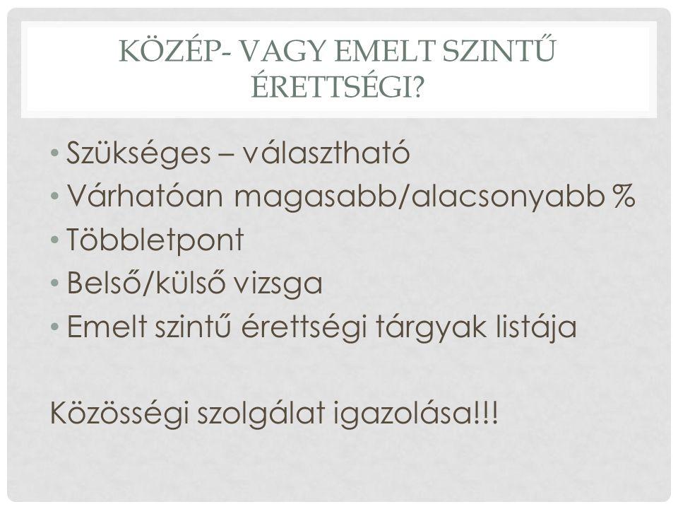 KÖZÉP- VAGY EMELT SZINTŰ ÉRETTSÉGI.