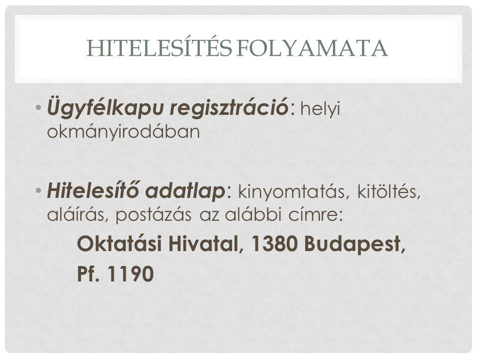 HITELESÍTÉS FOLYAMATA Ügyfélkapu regisztráció : helyi okmányirodában Hitelesítő adatlap : kinyomtatás, kitöltés, aláírás, postázás az alábbi címre: Oktatási Hivatal, 1380 Budapest, Pf.