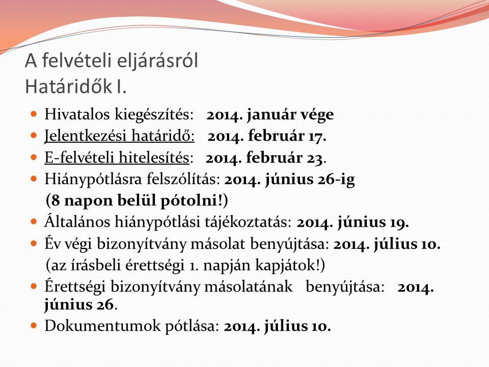 A felvételi eljárásról Határidők I. Hivatalos kiegészítés: 2014.