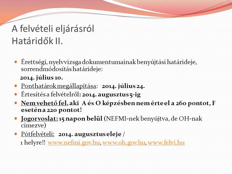 A felvételi eljárásról Határidők II. Érettségi, nyelvvizsga dokumentumainak benyújtási határideje, sorrendmódosítás határideje: 2014. július 10. Ponth