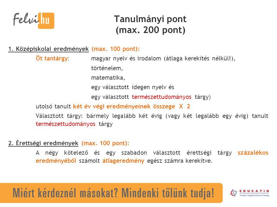 Tanulmányi pont (max. 200 pont) 1. Középiskolai eredmények (max.