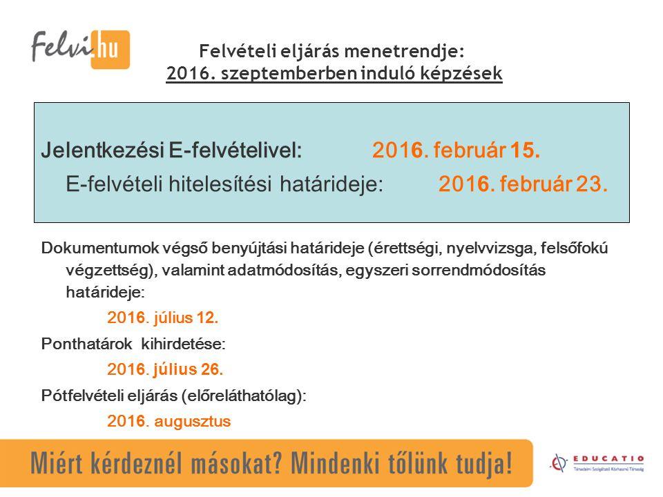 Felvételi eljárás menetrendje: 2016.