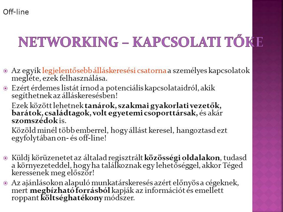  Az egyik legjelentősebb álláskeresési csatorna a személyes kapcsolatok megléte, ezek felhasználása.