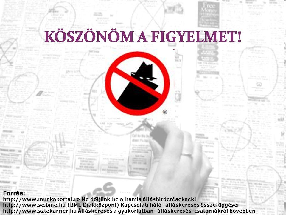 Forrás: http://www.munkaportal.ro Ne dőljünk be a hamis álláshirdetéseknek! http://www.sc.bme.hu (BME Diákközpont) Kapcsolati háló- álláskeresés össze