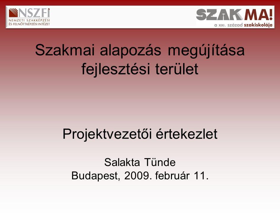 Szakmai alapozás megújítása fejlesztési terület Projektvezetői értekezlet Salakta Tünde Budapest, 2009.