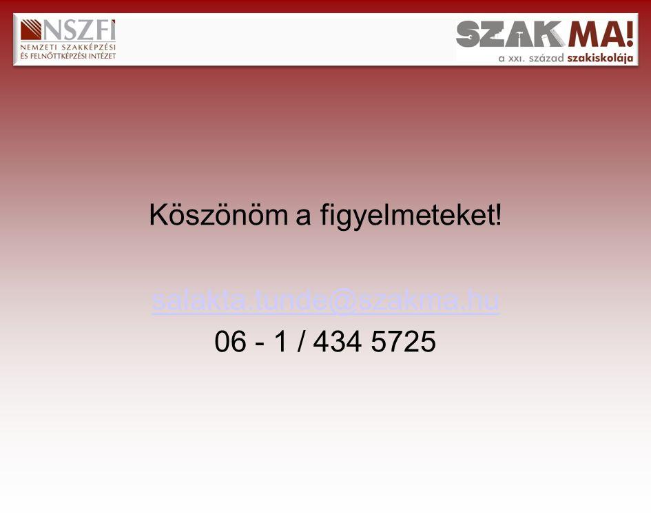 Köszönöm a figyelmeteket! salakta.tunde@szakma.hu 06 - 1 / 434 5725
