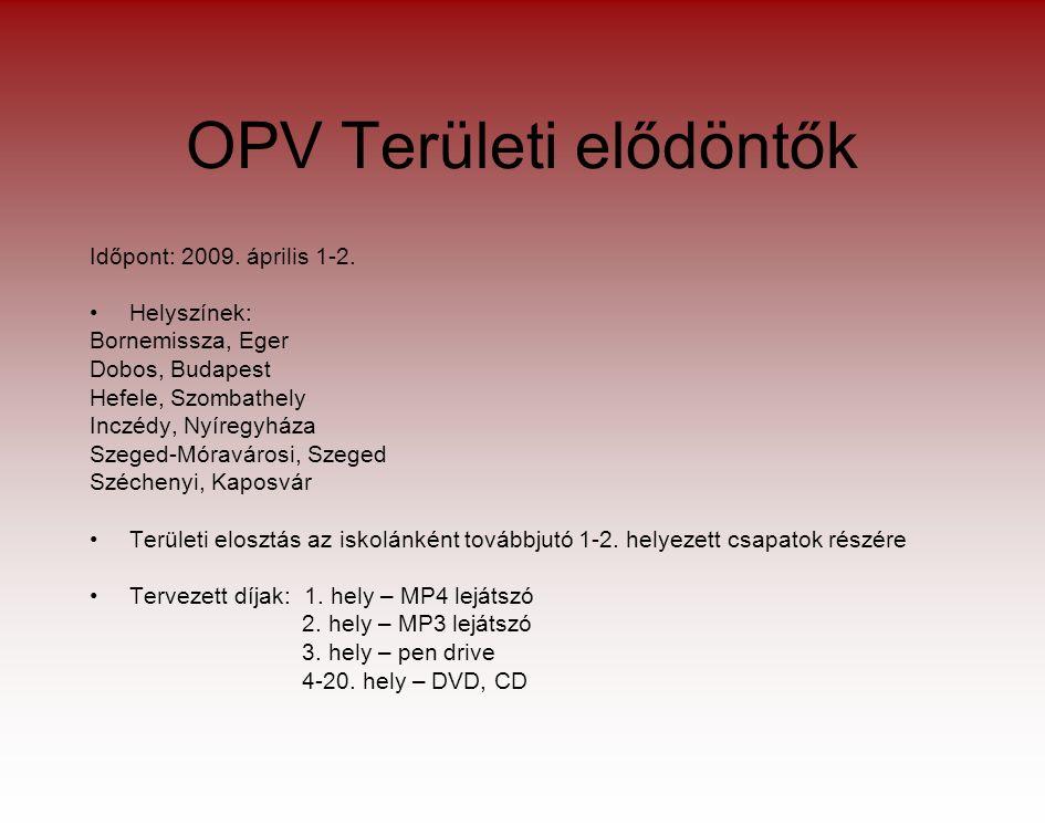 OPV Területi elődöntők Időpont: 2009. április 1-2.