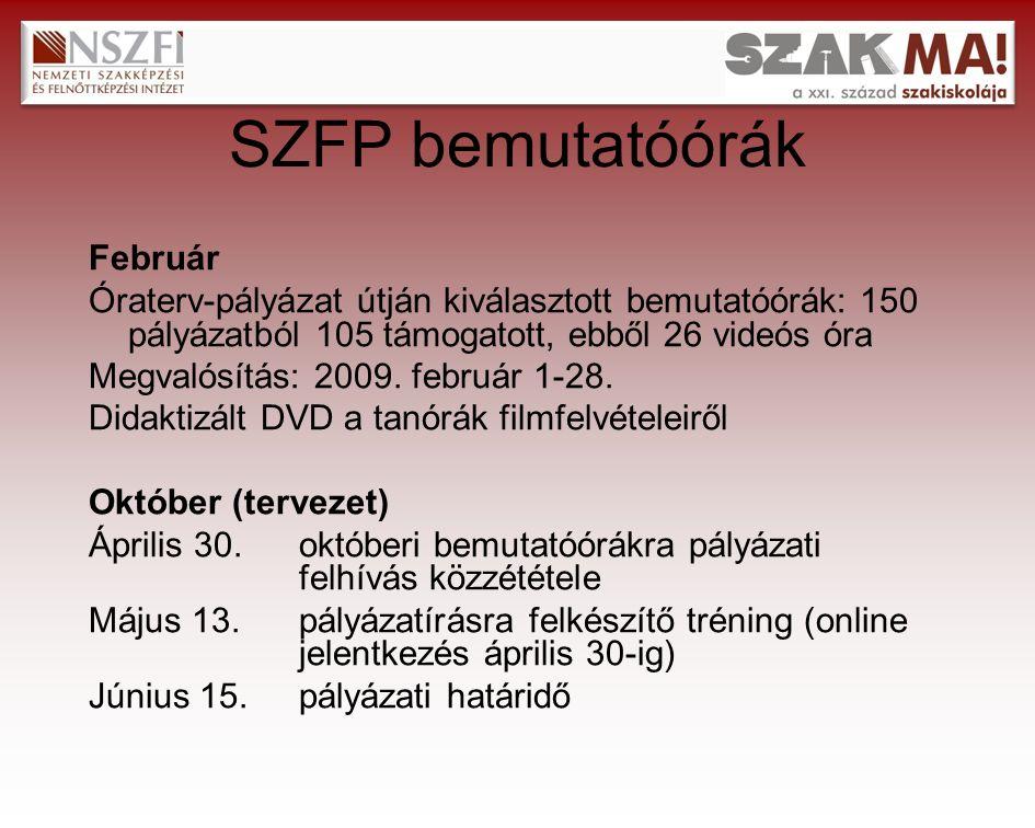 SZFP bemutatóórák Február Óraterv-pályázat útján kiválasztott bemutatóórák: 150 pályázatból 105 támogatott, ebből 26 videós óra Megvalósítás: 2009.