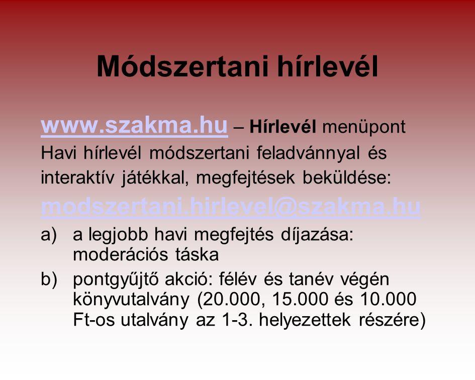 Módszertani hírlevél www.szakma.huwww.szakma.hu – Hírlevél menüpont Havi hírlevél módszertani feladvánnyal és interaktív játékkal, megfejtések beküldése: modszertani.hirlevel@szakma.hu a)a legjobb havi megfejtés díjazása: moderációs táska b)pontgyűjtő akció: félév és tanév végén könyvutalvány (20.000, 15.000 és 10.000 Ft-os utalvány az 1-3.