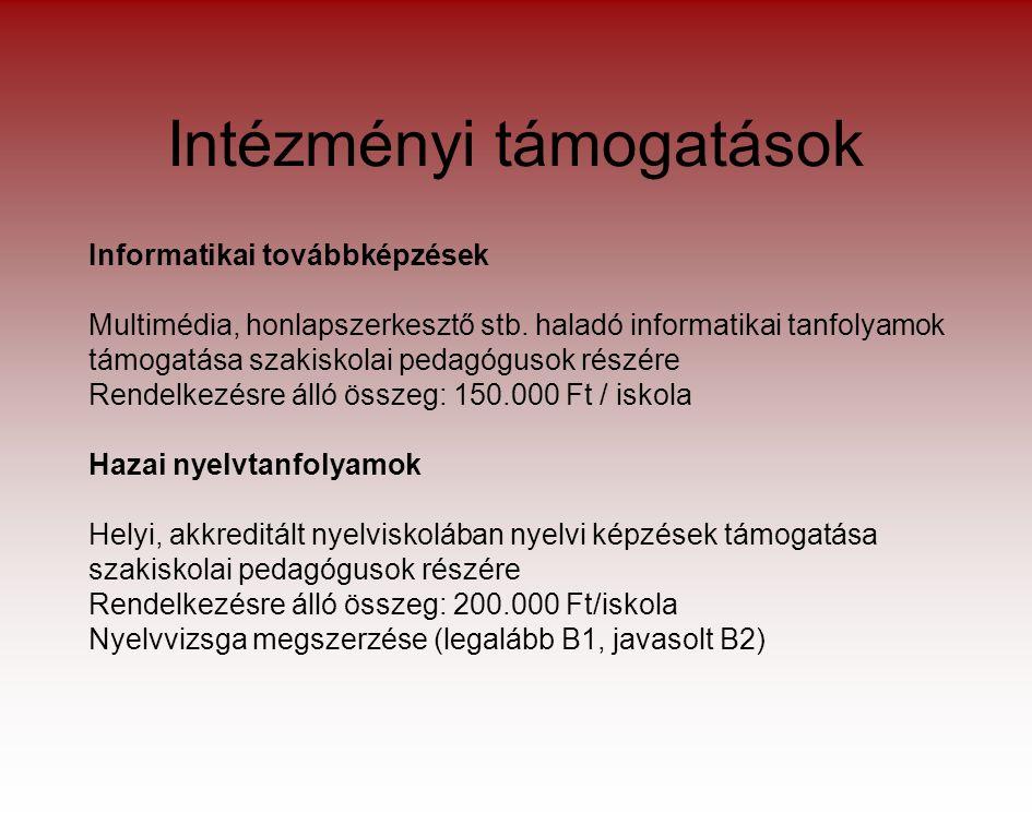 Intézményi támogatások Informatikai továbbképzések Multimédia, honlapszerkesztő stb.