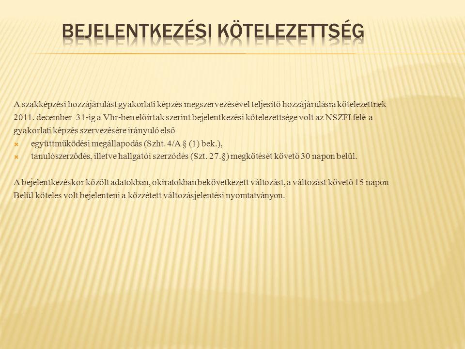 A szakképzési hozzájárulást gyakorlati képzés megszervezésével teljesítő hozzájárulásra kötelezettnek 2011. december 31-ig a Vhr-ben előírtak szerint