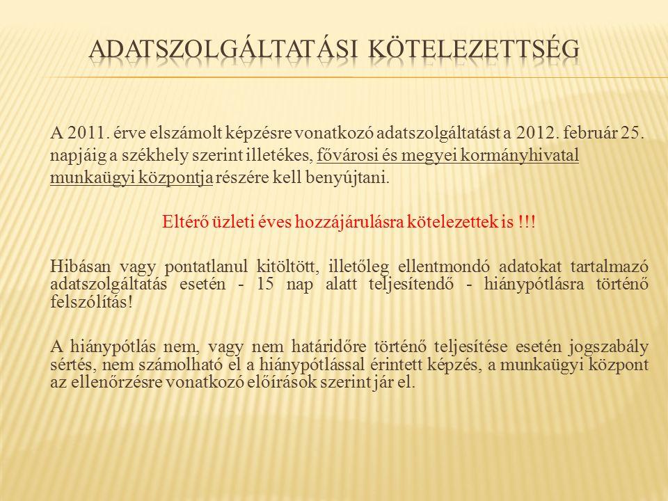 A 2011. érve elszámolt képzésre vonatkozó adatszolgáltatást a 2012. február 25. napjáig a székhely szerint illetékes, fővárosi és megyei kormányhivata
