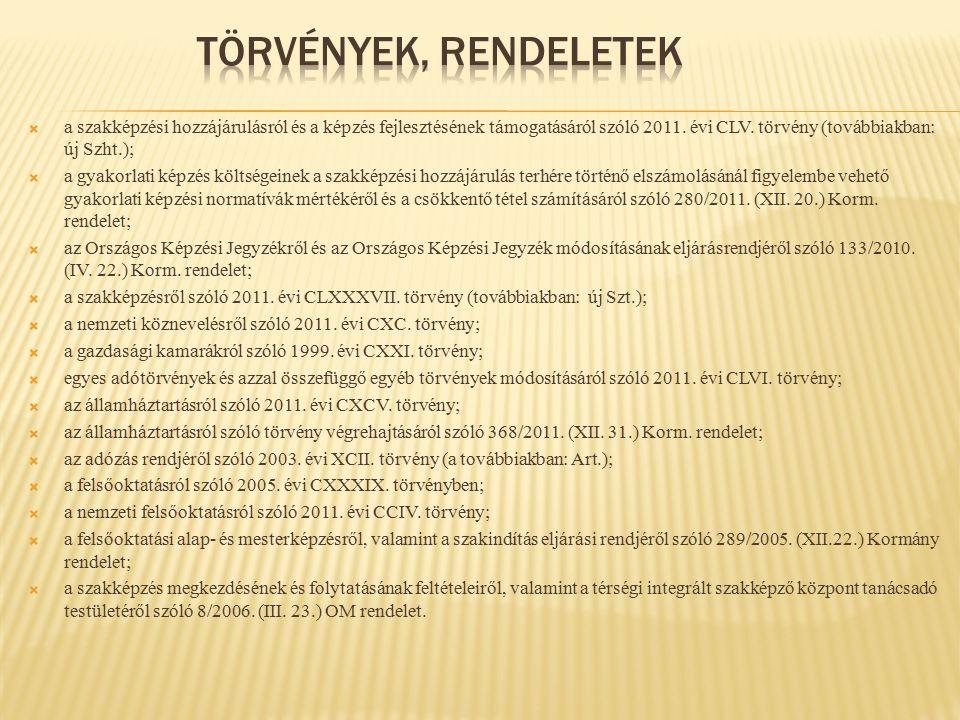  a szakképzési hozzájárulásról és a képzés fejlesztésének támogatásáról szóló 2011. évi CLV. törvény (továbbiakban: új Szht.);  a gyakorlati képzés