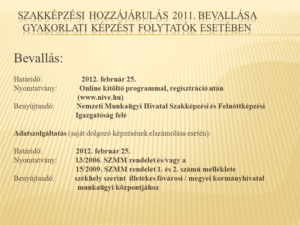 Bevallás: Határidő: 2012. február 25. Nyomtatvány: Online kitöltő programmal, regisztráció után (www.nive.hu) Benyújtandó: Nemzeti Munkaügyi Hivatal S