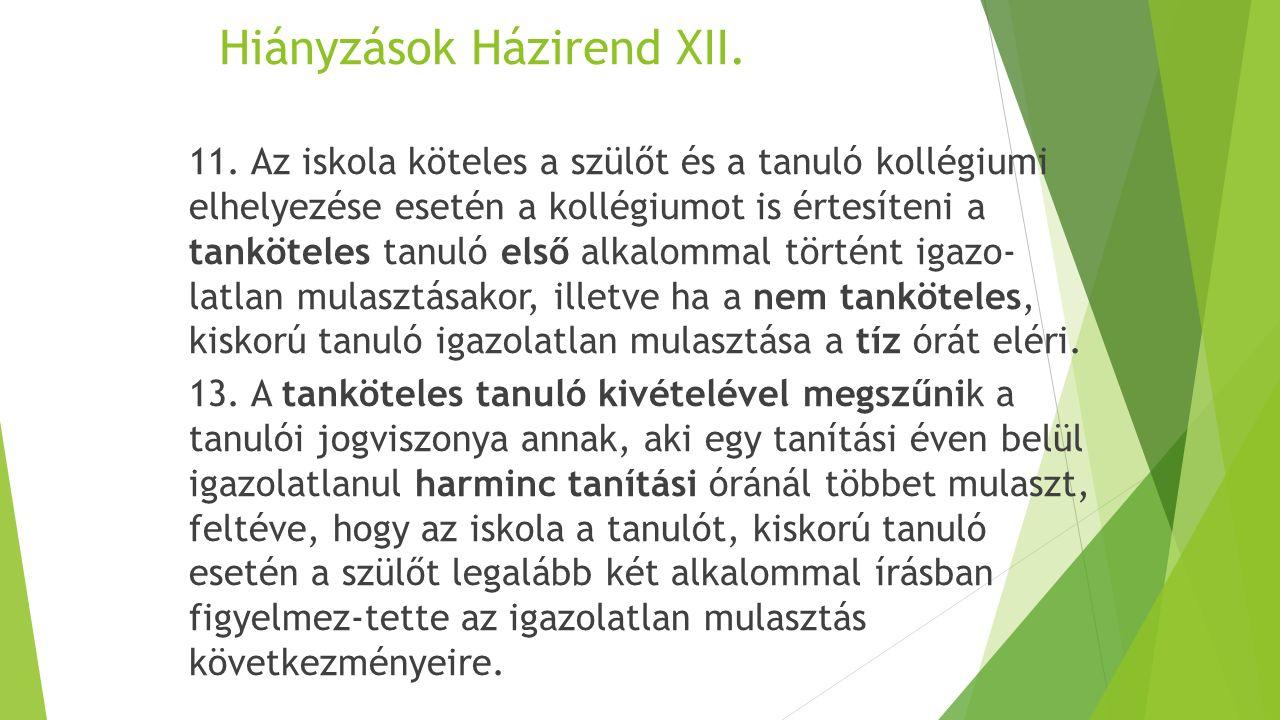 Hiányzások Házirend XII. 11.