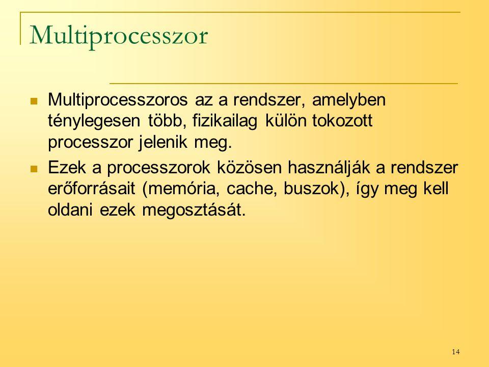 14 Multiprocesszor Multiprocesszoros az a rendszer, amelyben ténylegesen több, fizikailag külön tokozott processzor jelenik meg.