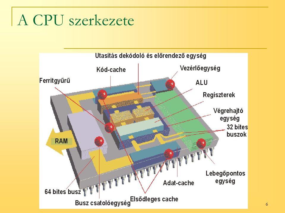 7 A CPU részei: Vezérlőegység (CU) (Controll Unit) Vezérli és koordinálja a folyamatokat A programot utasításonként hívja be az operatív tárból a helyes sorrendben Értelmezi az utasításokat és megfelelő jeleket küld a CPU egyéb részeinek