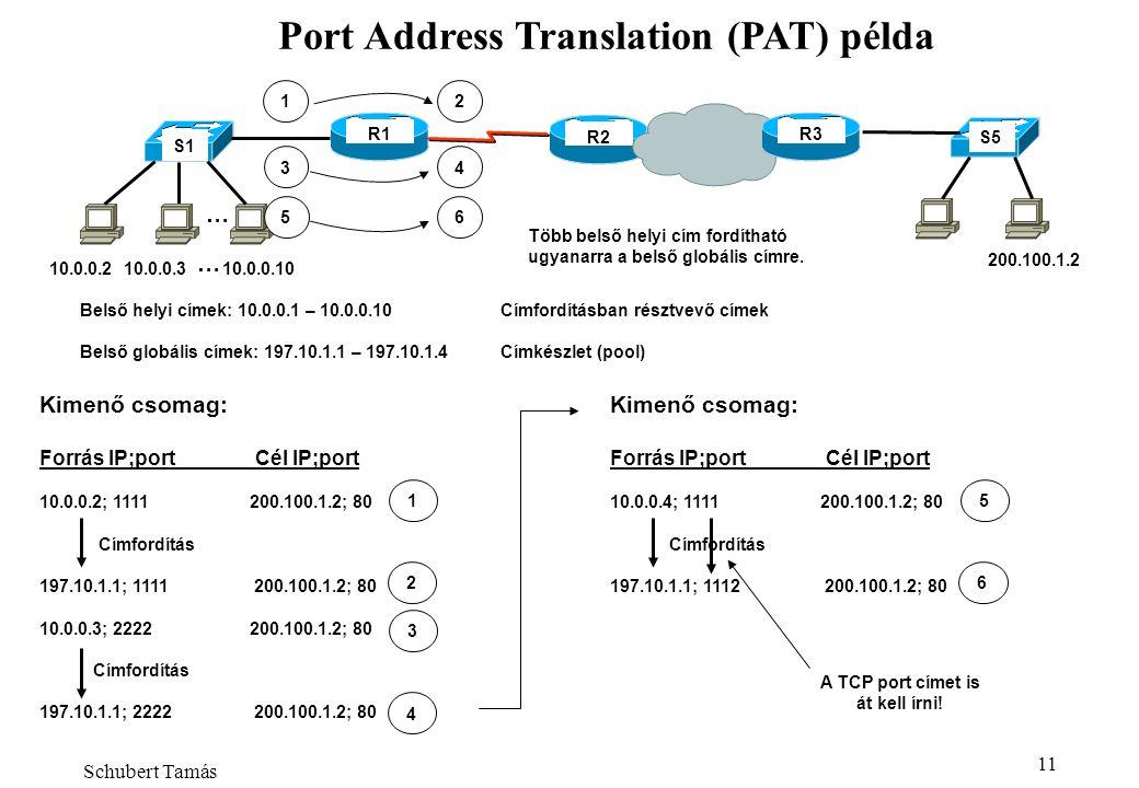 Almási Béla - NAT 11 Port Address Translation (PAT) példa R1 R2 Belső helyi címek: 10.0.0.1 – 10.0.0.10Címfordításban résztvevő címek Belső globális címek: 197.10.1.1 – 197.10.1.4Címkészlet (pool) S1 S5 1 R3 … 10.0.0.210.0.0.310.0.0.10 … 200.100.1.2 2 34 56 Több belső helyi cím fordítható ugyanarra a belső globális címre.