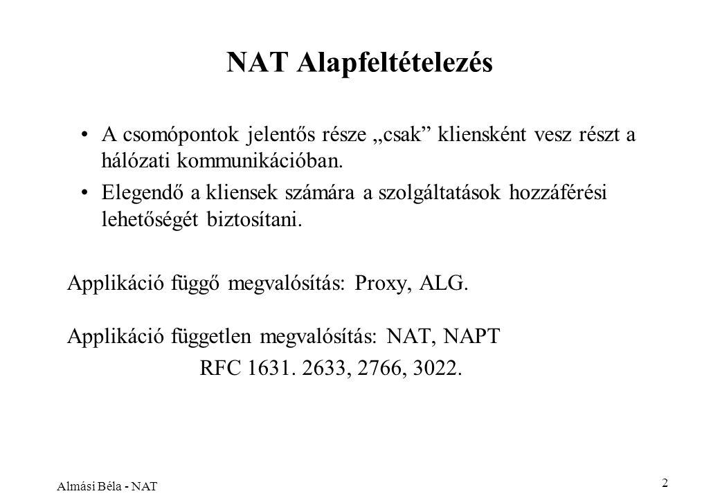 """Almási Béla - NAT 2 NAT Alapfeltételezés A csomópontok jelentős része """"csak kliensként vesz részt a hálózati kommunikációban."""