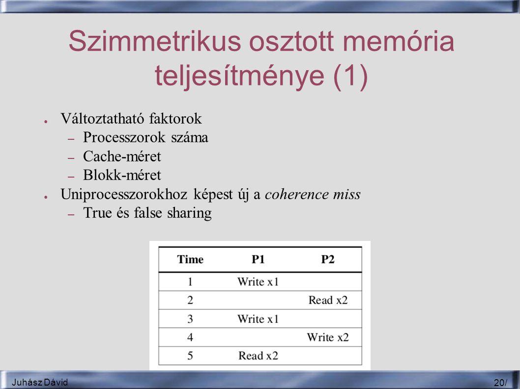 Juhász Dávid 20 / Szimmetrikus osztott memória teljesítménye (1) ● Változtatható faktorok – Processzorok száma – Cache-méret – Blokk-méret ● Uniprocesszorokhoz képest új a coherence miss – True és false sharing