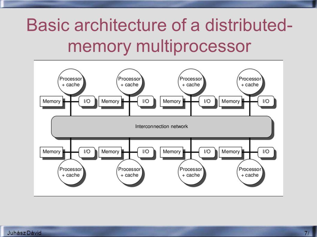 Juhász Dávid 18 / Implementációs technikák ● Small-scale multiprocessors ● Buszt használja érvénytelenítésre – A hozzáférés szerializációja biztosítja az írásokét ● Érvényes másolat megtalálása – Write-through cache – Write-back cache ● Kevesebb memóriaigény ● Cache-tagek használata – Valid bit – Shared bit ● Busz tranzakcióknál ellenőrizni kell a jelző biteket – Interferálhat a CPU kéréseivel ● Duplikált tagek ● Többszintű cache