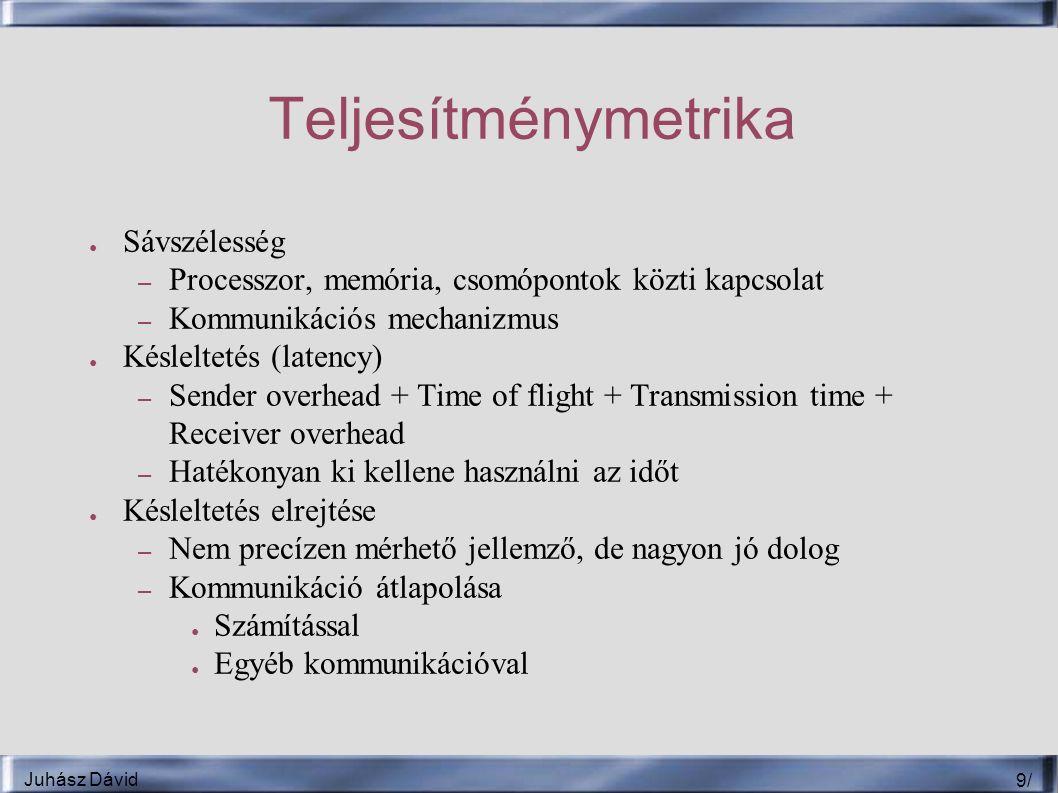 Juhász Dávid 9/9/ Teljesítménymetrika ● Sávszélesség – Processzor, memória, csomópontok közti kapcsolat – Kommunikációs mechanizmus ● Késleltetés (latency) – Sender overhead + Time of flight + Transmission time + Receiver overhead – Hatékonyan ki kellene használni az időt ● Késleltetés elrejtése – Nem precízen mérhető jellemző, de nagyon jó dolog – Kommunikáció átlapolása ● Számítással ● Egyéb kommunikációval