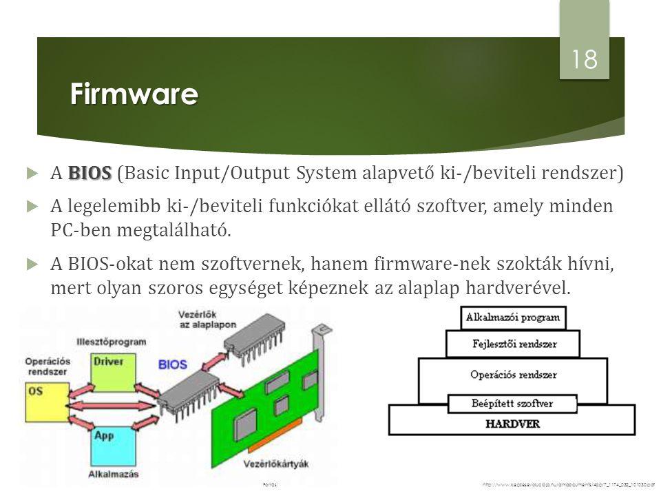 Firmware BIOS  A BIOS (Basic Input/Output System alapvető ki-/beviteli rendszer)  A legelemibb ki-/beviteli funkciókat ellátó szoftver, amely minden PC-ben megtalálható.