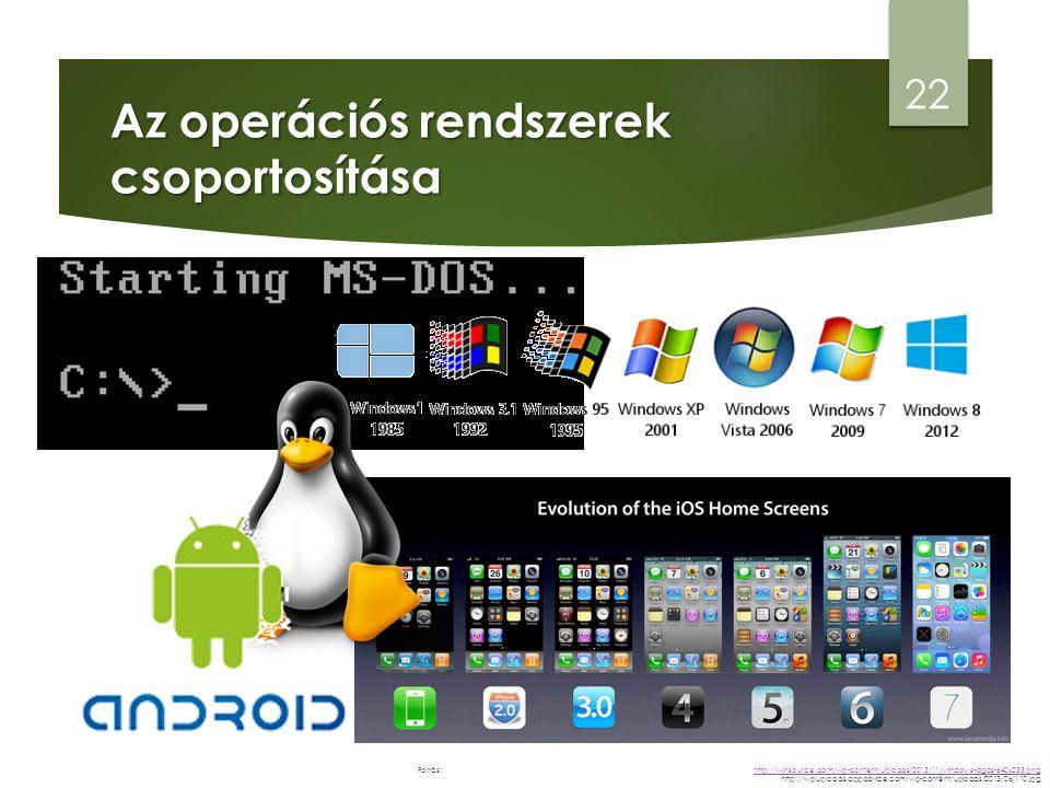 Az operációs rendszerek csoportosítása 22 http://winsource.com/wp-content/uploads/2013/11/windows-logos-640x255.png http://winsource.com/wp-content/uploads/2013/11/windows-logos-640x255.png http://wpuploads.appadvice.com/wp-content/uploads/2013/06/110.jpg Forrás: