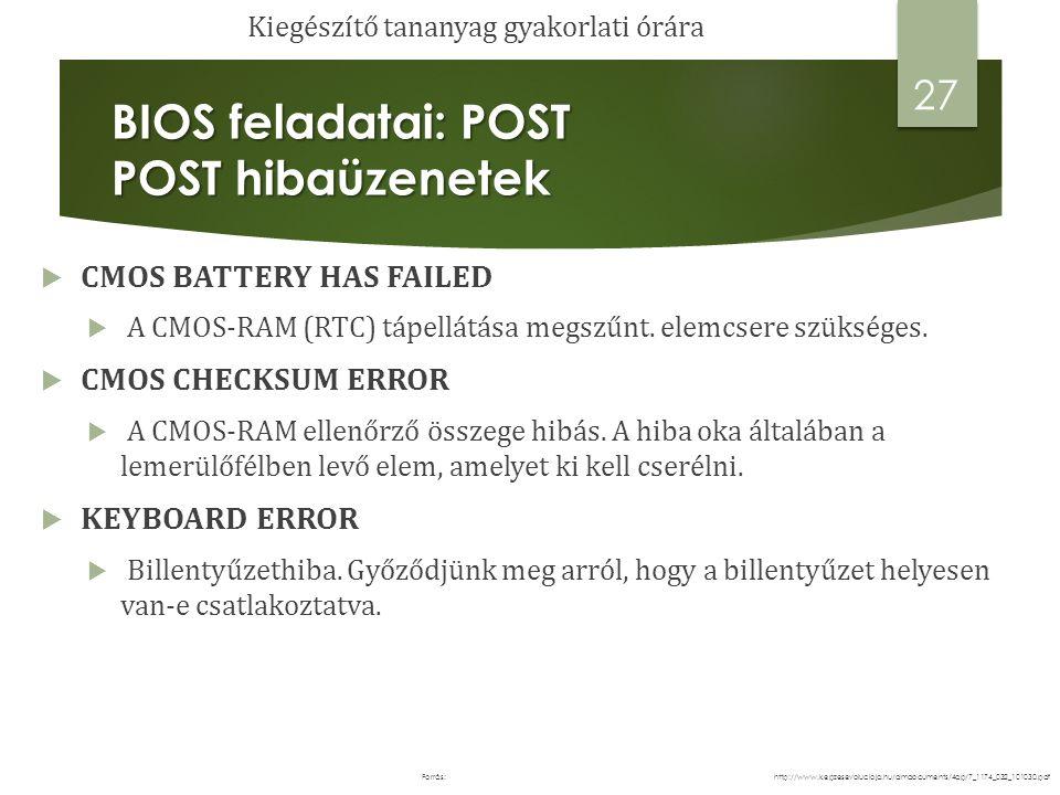 BIOS feladatai: POST POST hibaüzenetek  CMOS BATTERY HAS FAILED  A CMOS-RAM (RTC) tápellátása megszűnt.