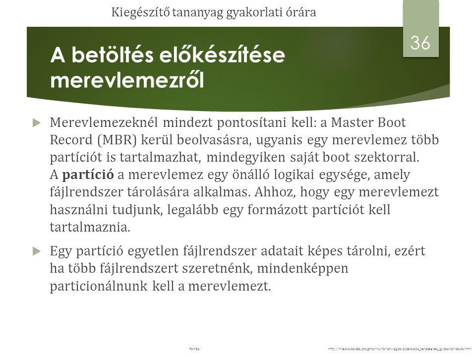 A betöltés előkészítése merevlemezről  Merevlemezeknél mindezt pontosítani kell: a Master Boot Record (MBR) kerül beolvasásra, ugyanis egy merevlemez több partíciót is tartalmazhat, mindegyiken saját boot szektorral.