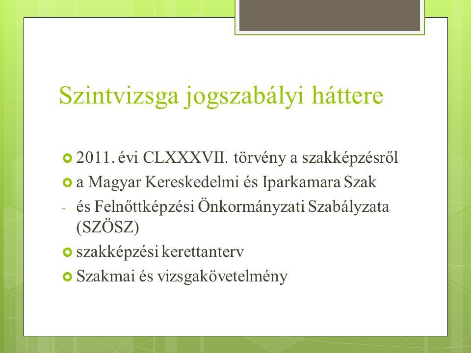 Szintvizsga jogszabályi háttere  2011. évi CLXXXVII. törvény a szakképzésről  a Magyar Kereskedelmi és Iparkamara Szak - és Felnőttképzési Önkormány