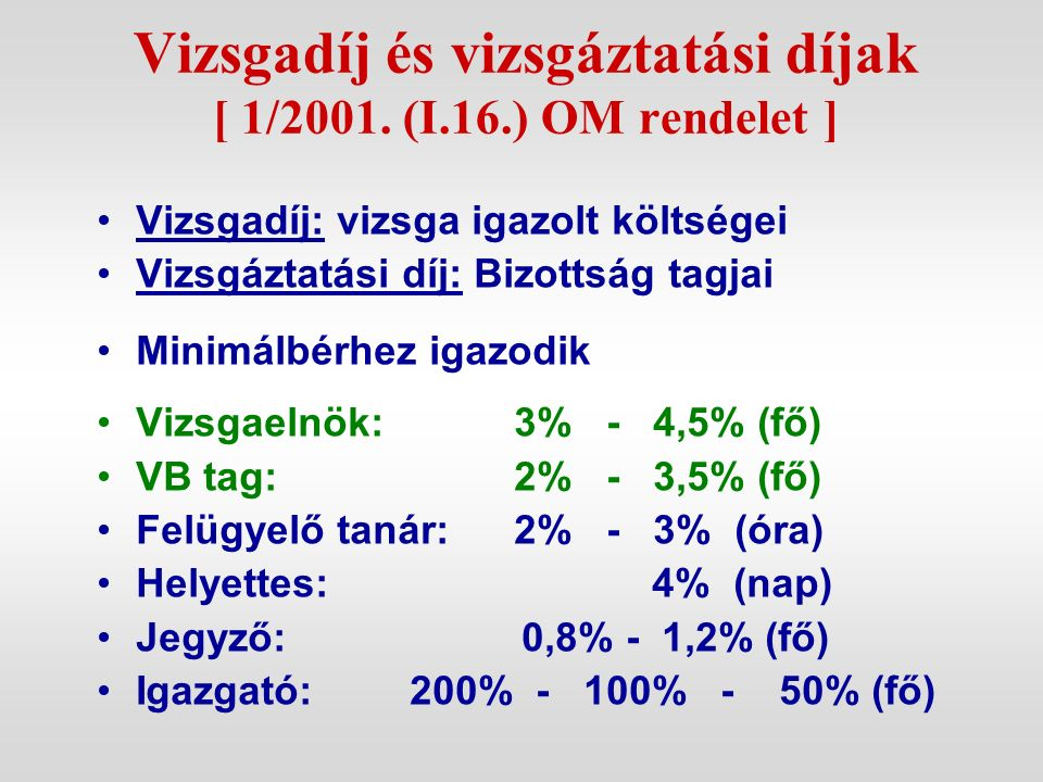 Vizsgadíj és vizsgáztatási díjak [ 1/2001. (I.16.) OM rendelet ] Vizsgadíj: vizsga igazolt költségei Vizsgáztatási díj: Bizottság tagjai Minimálbérhez