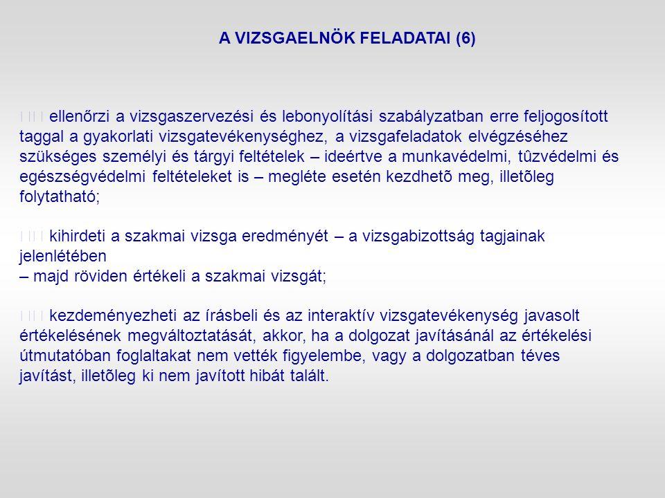 A VIZSGAELNÖK FELADATAI (6) ellenőrzi a vizsgaszervezési és lebonyolítási szabályzatban erre feljogosított taggal a gyakorlati vizsgatevékenységhez, a