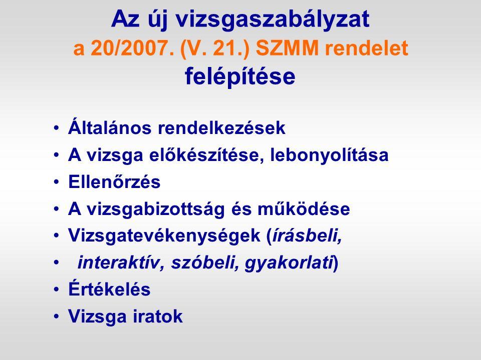 Az új vizsgaszabályzat a 20/2007. (V. 21.) SZMM rendelet felépítése Általános rendelkezések A vizsga előkészítése, lebonyolítása Ellenőrzés A vizsgabi