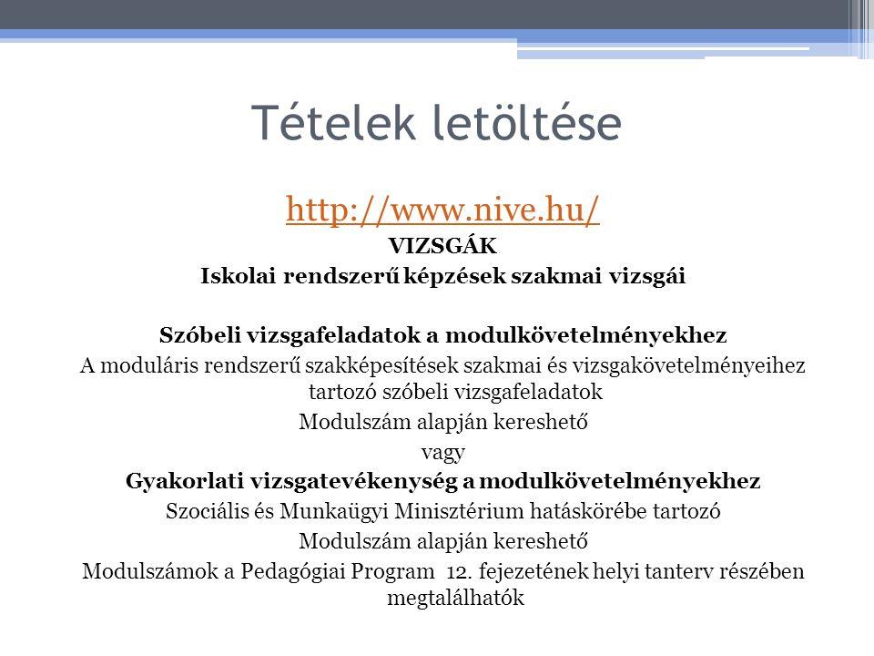 Tételek letöltése http://www.nive.hu/ VIZSGÁK Iskolai rendszerű képzések szakmai vizsgái Szóbeli vizsgafeladatok a modulkövetelményekhez A moduláris r