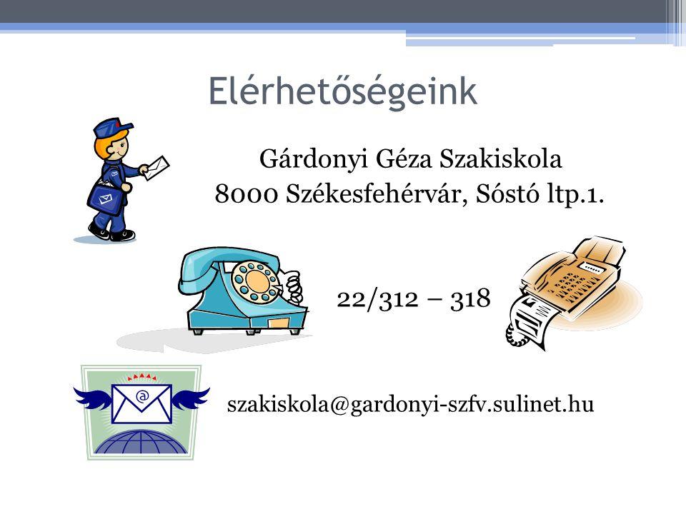 Elérhetőségeink Gárdonyi Géza Szakiskola 8000 Székesfehérvár, Sóstó ltp.1. 22/312 – 318 szakiskola@gardonyi-szfv.sulinet.hu