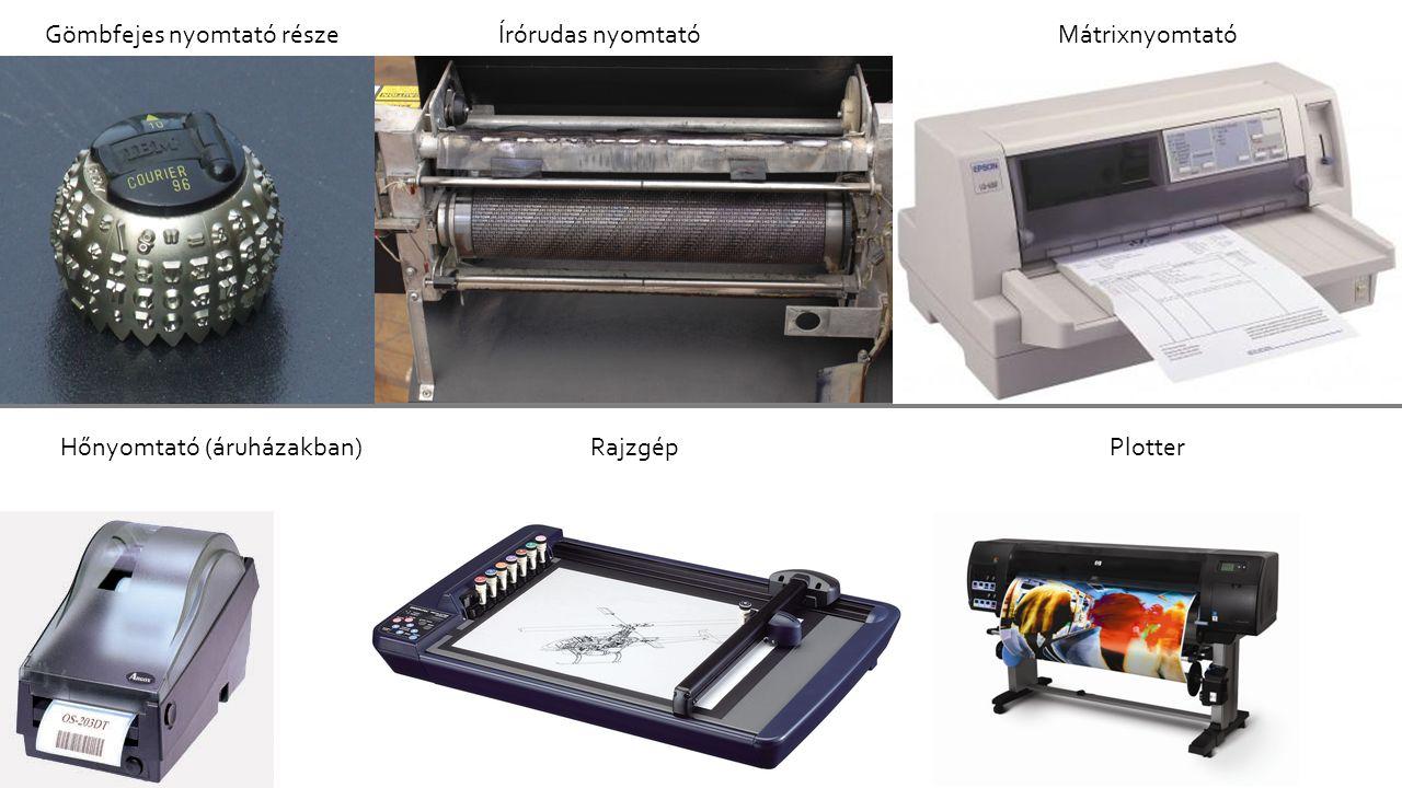 NEM ÜTŐNYOMTATÓ ÜTŐNYOMTATÓK Gömbfejes nyomtató részeÍrórudas nyomtatóMátrixnyomtató Hőnyomtató (áruházakban)RajzgépPlotter