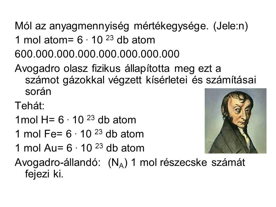 Mól az anyagmennyiség mértékegysége. (Jele:n) 1 mol atom= 6.