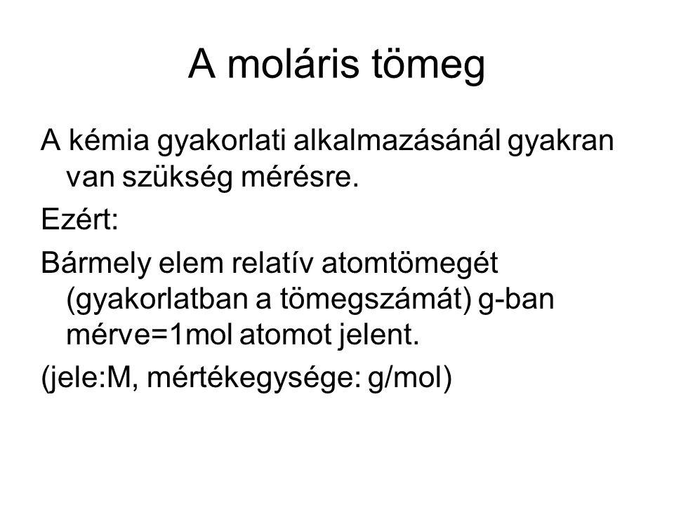 A moláris tömeg A kémia gyakorlati alkalmazásánál gyakran van szükség mérésre.