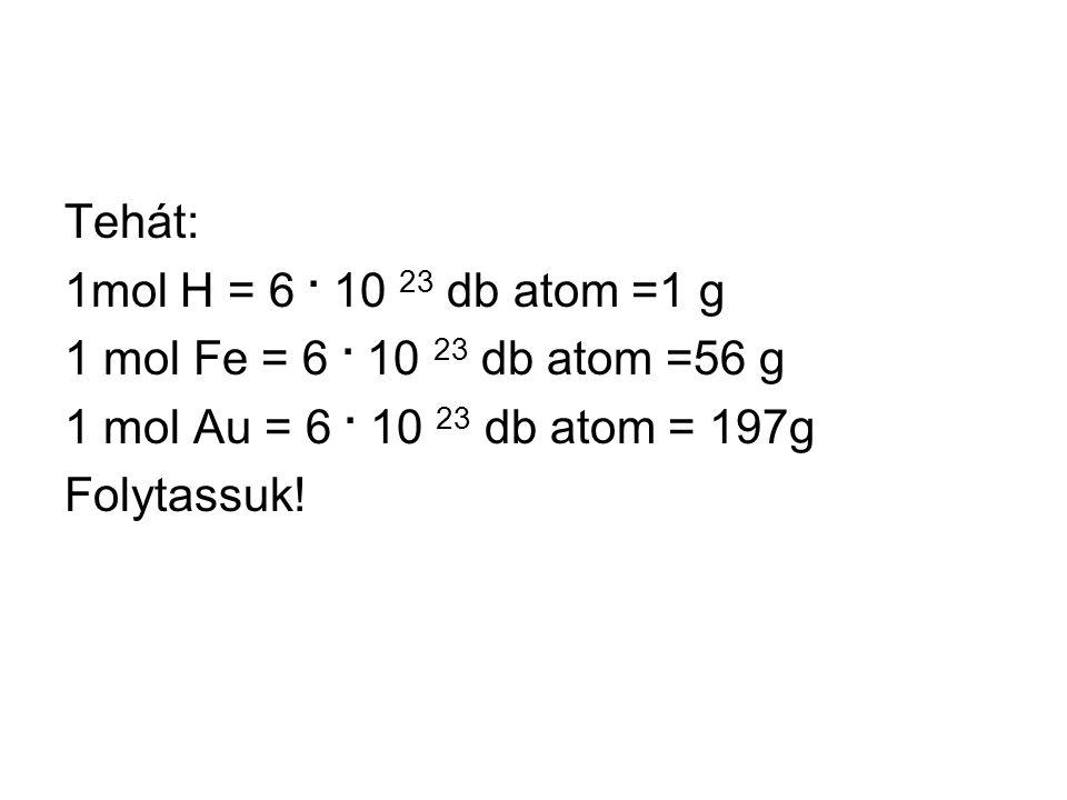 Tehát: 1mol H = 6. 10 23 db atom =1 g 1 mol Fe = 6.