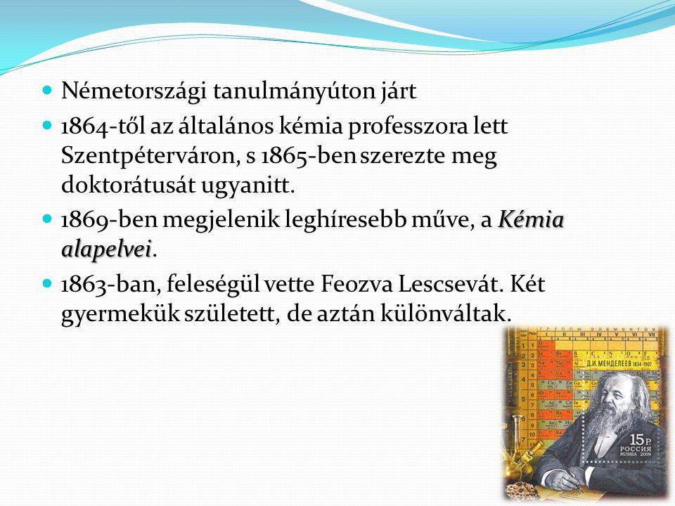 Németországi tanulmányúton járt 1864-től az általános kémia professzora lett Szentpéterváron, s 1865-ben szerezte meg doktorátusát ugyanitt.