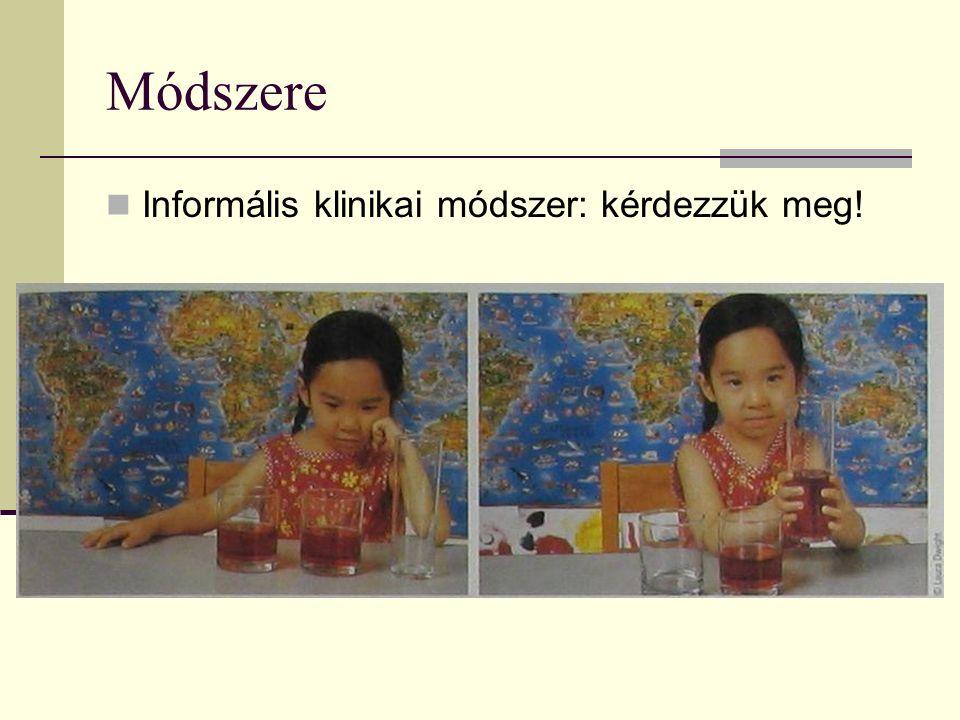 Módszere Informális klinikai módszer: kérdezzük meg!
