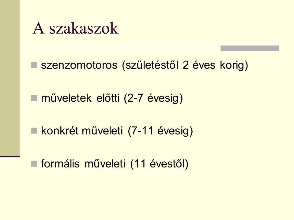 A szakaszok szenzomotoros (születéstől 2 éves korig) műveletek előtti (2-7 évesig) konkrét műveleti (7-11 évesig) formális műveleti (11 évestől)