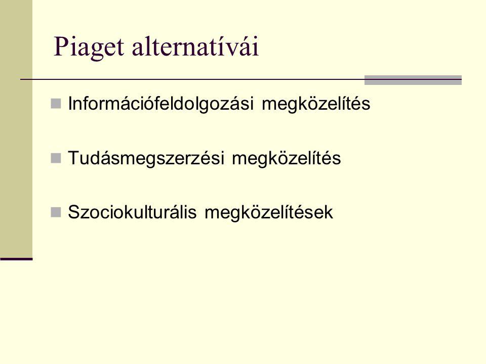 Piaget alternatívái Információfeldolgozási megközelítés Tudásmegszerzési megközelítés Szociokulturális megközelítések