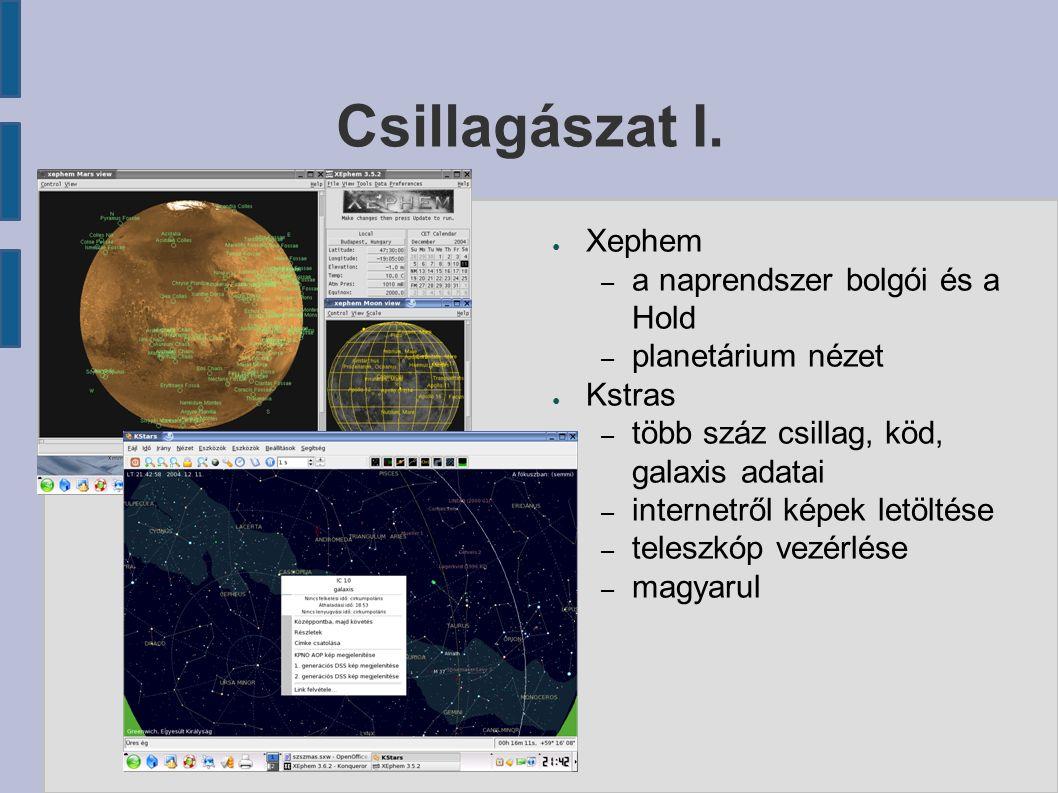 Csillagászat I. ● Xephem – a naprendszer bolgói és a Hold – planetárium nézet ● Kstras – több száz csillag, köd, galaxis adatai – internetről képek le