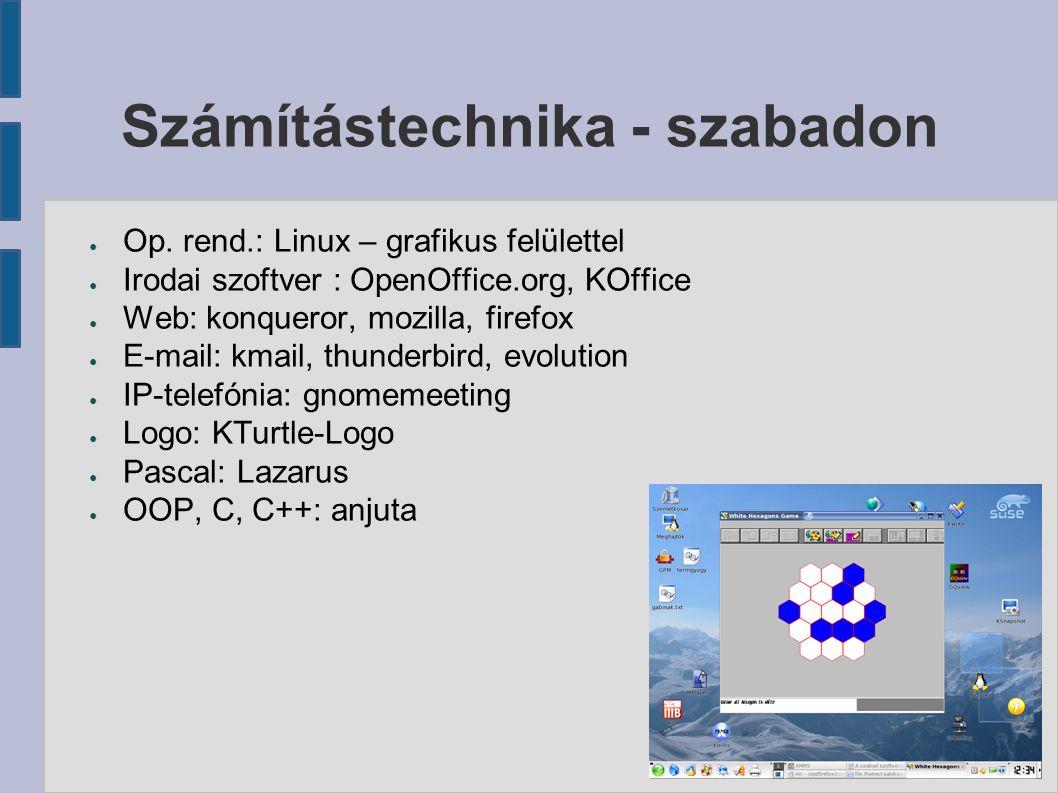 Számítástechnika - szabadon ● Op. rend.: Linux – grafikus felülettel ● Irodai szoftver : OpenOffice.org, KOffice ● Web: konqueror, mozilla, firefox ●