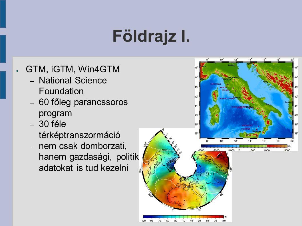 Földrajz I. ● GTM, iGTM, Win4GTM – National Science Foundation – 60 főleg parancssoros program – 30 féle térképtranszormáció – nem csak domborzati, ha