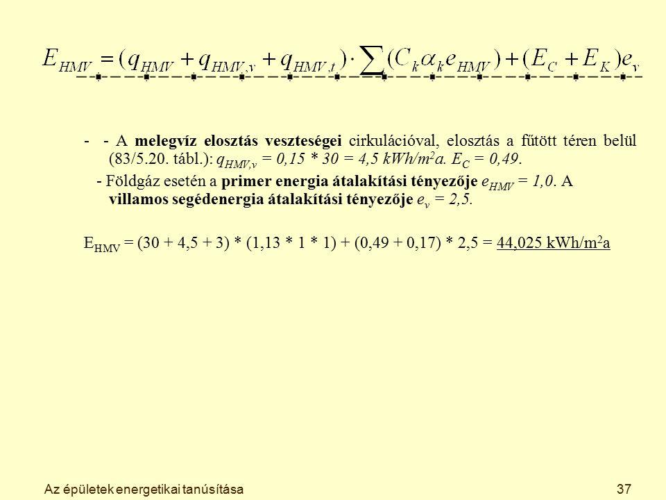 Az épületek energetikai tanúsítása37 - - A melegvíz elosztás veszteségei cirkulációval, elosztás a fűtött téren belül (83/5.20. tábl.): q HMV,v = 0,15