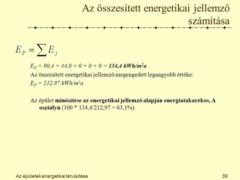Az épületek energetikai tanúsítása39 Az összesített energetikai jellemző számítása E P = 90,4 + 44,0 + 0 + 0 + 0 = 134,4 kWh/m 2 a Az összesített energetikai jellemző megengedett legnagyobb értéke: E P = 212,97 kWh/m 2 a Az épület minősítése az energetikai jellemző alapján energiatakarékos, A osztályú (100 * 134,4/212,97 = 63,1%).